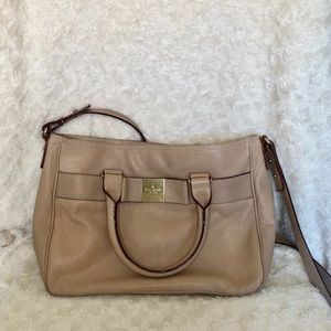 Kate Spade tan leather purse with shoulder strap